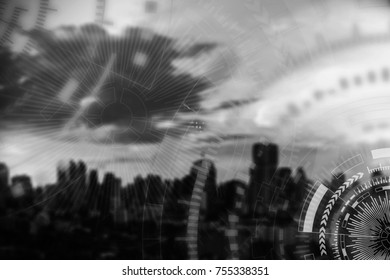 Technology background concept. Modern connection technology icons, lines and circle, with blurred city on background in monochrome. Picture for add text message. Backdrop for design art work.