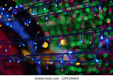 Technology background selective focus of LED lights (shallow depth of field)