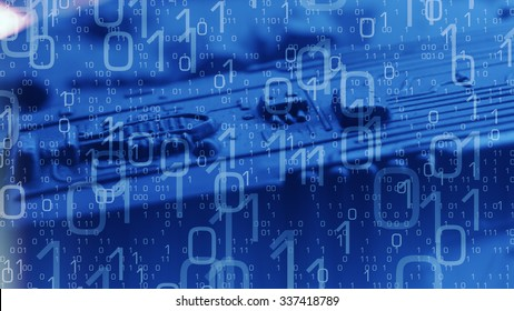 Technology blue background, abstract binary code