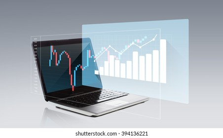 technology, business, statistics, economy and success concept - laptop computer with chart on screen over gray background