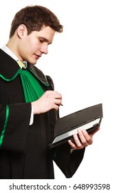 Technology and career legal advice. Young male lawyer hold tablet portable computer show advice and help point with pen.