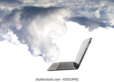 technology cloud with laptop concept