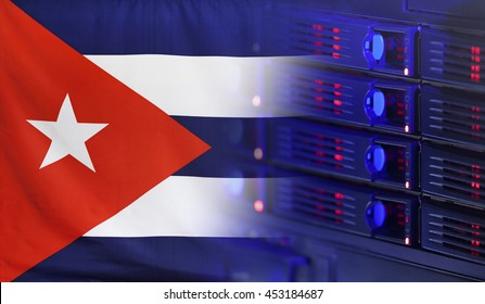Technology concept consisting of server hardware merging with the Flag of Cuba for use as local or country internet and hardware security image idea