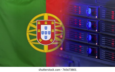 Technology concept consisting of server hardware merging with the Flag of Portugal for use as local or country internet and hardware security image idea