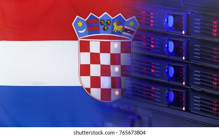Technology concept consisting of server hardware merging with the Flag of Croatia for use as local or country internet and hardware security image idea