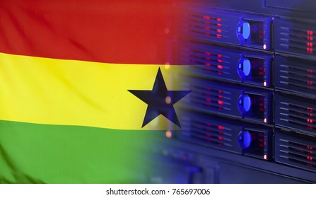 Technology concept consisting of server hardware merging with the Flag of Ghana for use as local or country internet and hardware security image idea