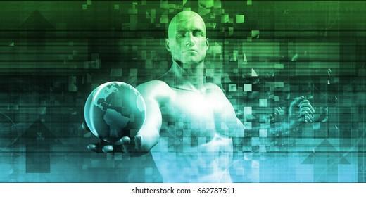 Technology Concept and Digital Data Business Concept 3D Illustration Render