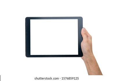 Technology Concept. One Hand Holding Tablet in Vertical axis with white screen and background and clipping path