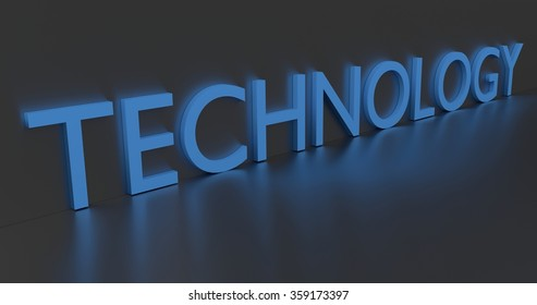 Technology concept word - blue text on grey background.