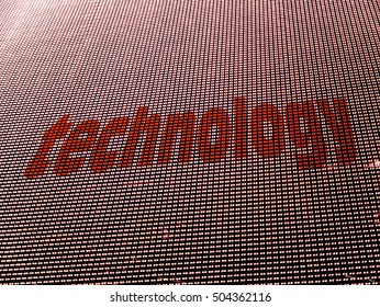 Technology digital concept. Written on array of halftone colored LED diodes. Red text on white background.
