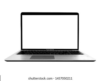 Technology education modern slim design laptop with blank screen,on white background, office concept.