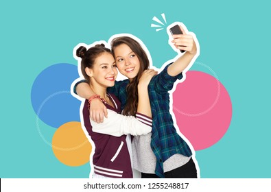 technology and friendship concept - magazine style collage of happy teenage girls taking selfie with smartphone over colorful background