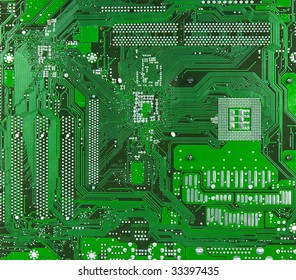 Technology: green motherboard surface. No logos or brandnames