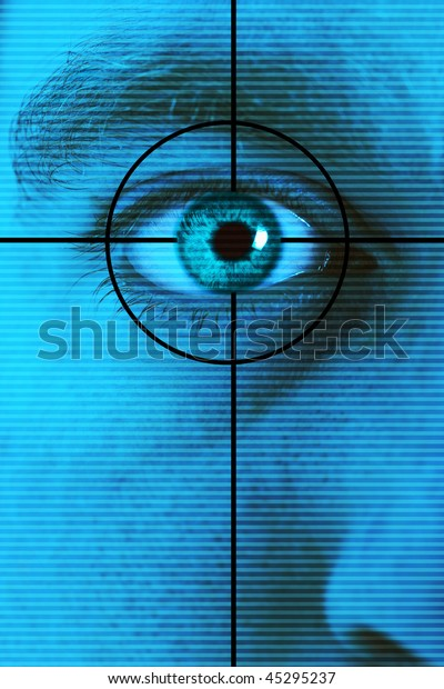 Technology high-tech background with targeted eye scan