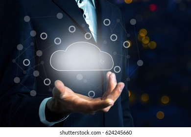 Technology idea concept with glowing cloud icon
