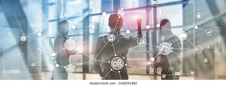 Technology industrial business process workflow organisation structure on virtual screen. IOT smart industry concept mixed media diagram.