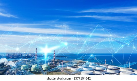 Technology of industry concept. IoT (Internet of Things). INDUSTRY4.0