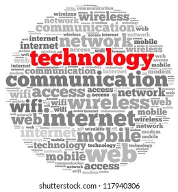 Technology info-text graphics and arrangement concept on white background (word cloud)