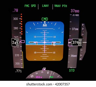 Technology: Instrument panel of a modern airliner in flight.