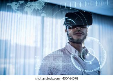 technology interface against businessman using an oculus