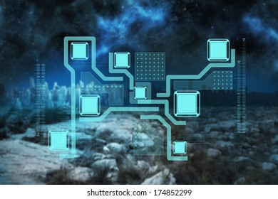 Technology interface against serene landscape with city on the horizon at night