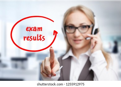 Technology, internet, business and marketing. Young business woman writing word: Exam results