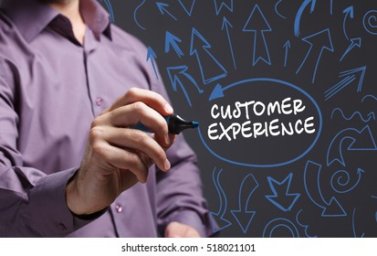 Technology, internet, business and marketing. Young business man writing word: customer experience