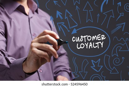Technology, internet, business and marketing. Young business man writing word: customer loyalty