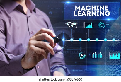 Technology, Internet, business and marketing. Young business person sees the word: machine learning