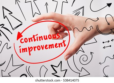 Technology, internet, business and marketing. Young business woman writing word: continuous improvement