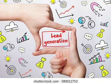 Technology, internet, business and marketing. Young business woman writing word: Lead generation