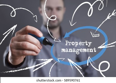 Technology, internet, business and marketing. Young business man writing word: Property management