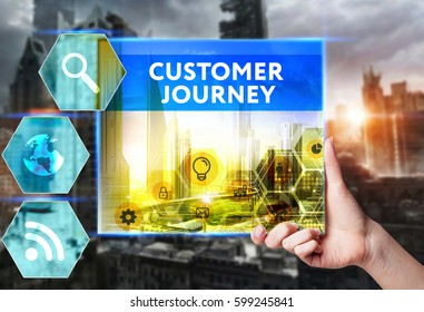 Technology, internet, business and marketing. Young business woman writing word: Customer journey