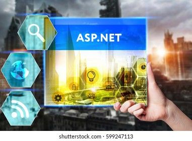 Technology, internet, business and marketing. Young business woman writing word: ASP.NET