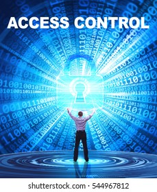 Technology, Internet, business and network concept. Young business man provides cyber security: Access control