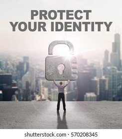 Technology, Internet, business and network concept. Young business man provides cyber security: Protect your identity