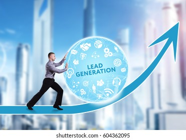 Technology, the Internet, business and network concept. A young businessman overcomes an obstacle to success: Lead generation