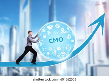Technology, the Internet, business and network concept. A young businessman overcomes an obstacle to success: CMO