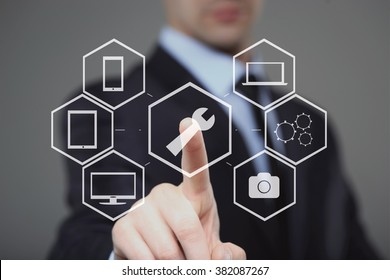 technology, internet and networking concept - businessman pressing technical support button on virtual screens
