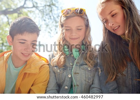 Technology Internet People Concept Three Happy Stock Photo (Edit Now