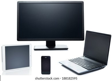 Technology. Laptop, tablet, smartphone and monitor on a white background