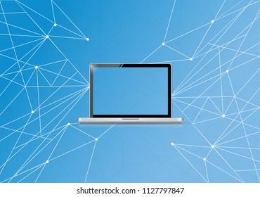 Technology link network diagram. bussiness concept illustration. over a blue background