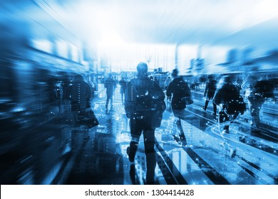 technology of machine or robot  Learning analytics identify human technology , Software  analytics and recognition people in city with flare light effect ,Artificial intelligence concept.