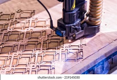 Technology of making laser incisions on furniture workshop.