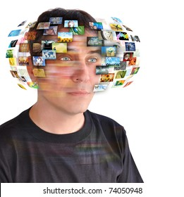 A technology man has images around his head. Use it for a communication or tv concept.