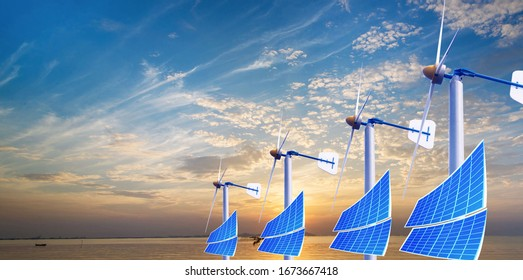 Technology Natural Energy Wind Turbine Solar Cell Nature Background