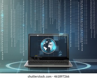 technology and network concept - laptop computer with earth globe on screen and binary code over gray background