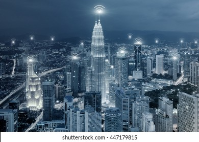 Technology, Network and Connection concept - Wifi network connection in center business district.