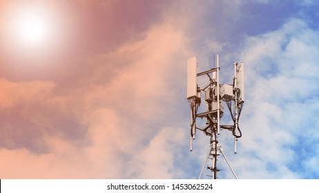 Technology on the top of the telecommunication. Cellular phone antennas on a building roof.Telecommunication mast television antennas.Receiving and transmitting stations.