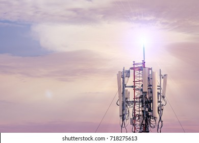 Technology on the top of the telecommunication GSM (5G,4G,3G) tower.Cellular phone antennas on a building roof.silhouette of Telecommunication mast television antennas.